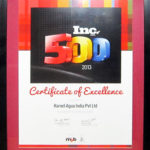"""Certificate of Excellence"""" for Exemplary Growth - 22 March 2014"""